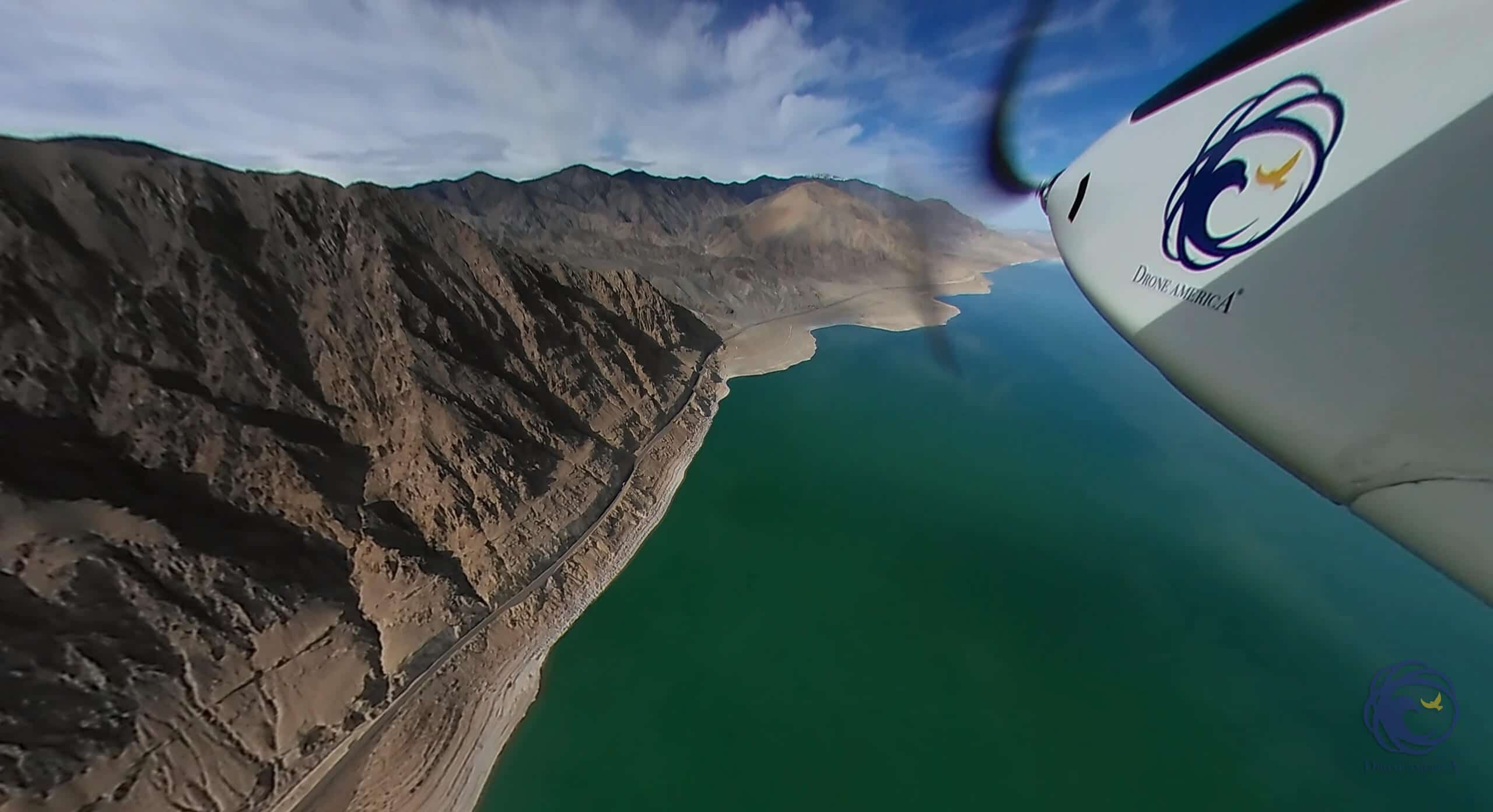 Drone America Savant™ unmanned aircraft on its historic 39-mile package delivery flight over Walker Lake, NV.